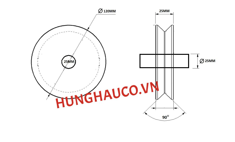 bánh xe ray V 120mm, không bạc đạn - lổ trục 25mm