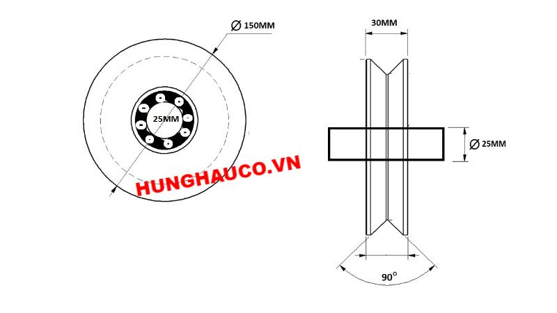 bánh xe ray V 150mm, có bạc đạn - lổ trục 25mm
