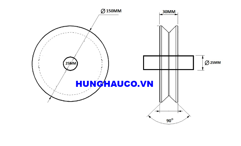 bánh xe ray V 150mm, không bạc đạn - lổ trục 25mm