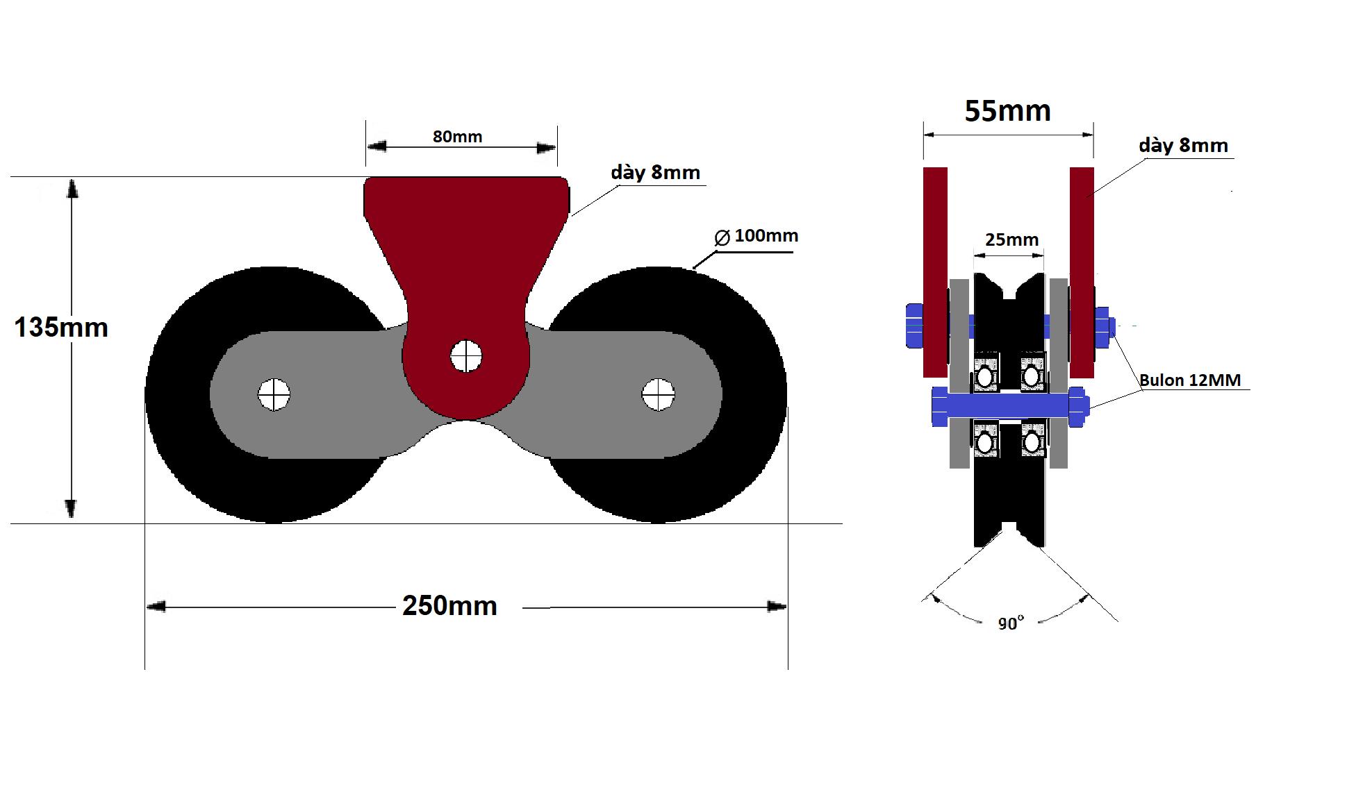 bánh xe đôi cửa cổng lùa Ray V 100mm - có pát hàn