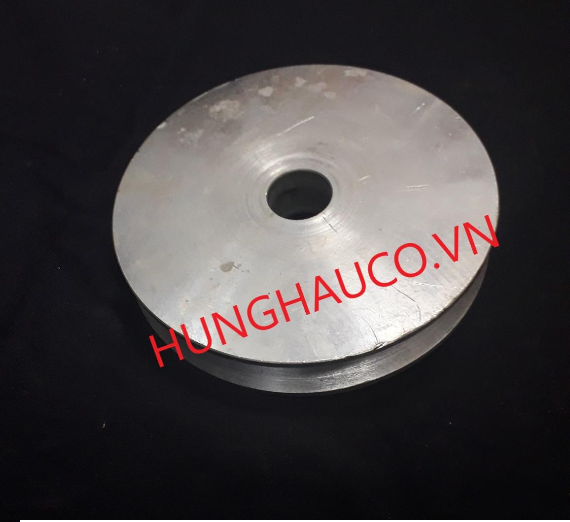 bánh xe ray V 100mm, không bạc đạn - lổ trục 25mm