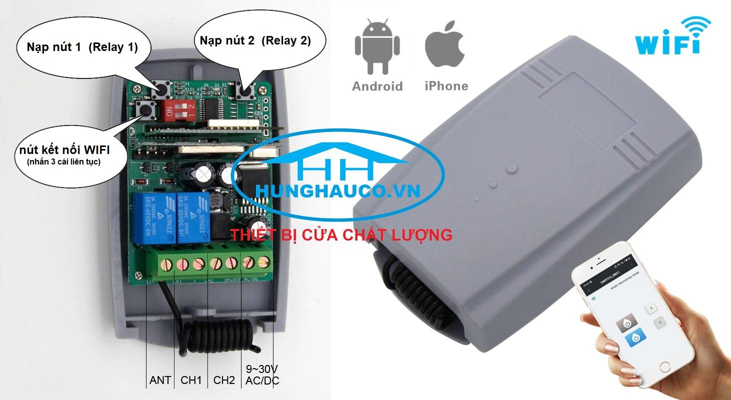mạch điều khiển cửa  cổng 2 kênh (9v-24v) bằng Điện thoại  (dùng mạng 3g, 4g, wifi )