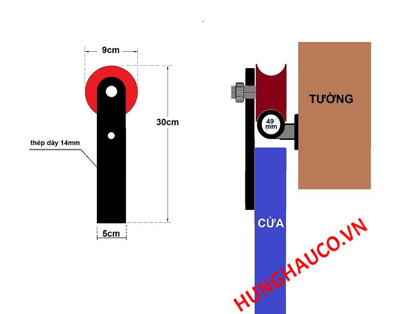 bánh xe lùa treo  - ray tròn 49mm (loại đơn)
