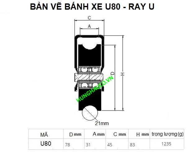 Bánh xe cửa cổng lùa 80mm -  chạy ray U 21mm