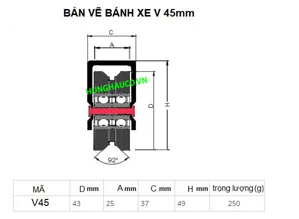 bánh xe ray V 45mm