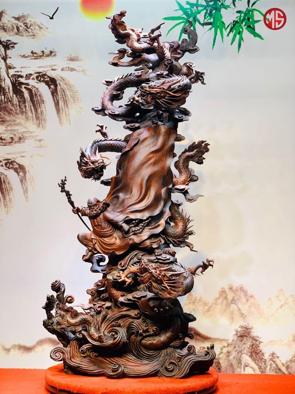 Tượng Đạt Ma Tam Long Trắc 1m70x72x50