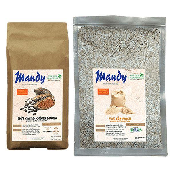 MANDY COMBO 1 - 500g Vảy yến mạch và 500g Bột cacao nguyên chất Mandy - SUPERIOR RED