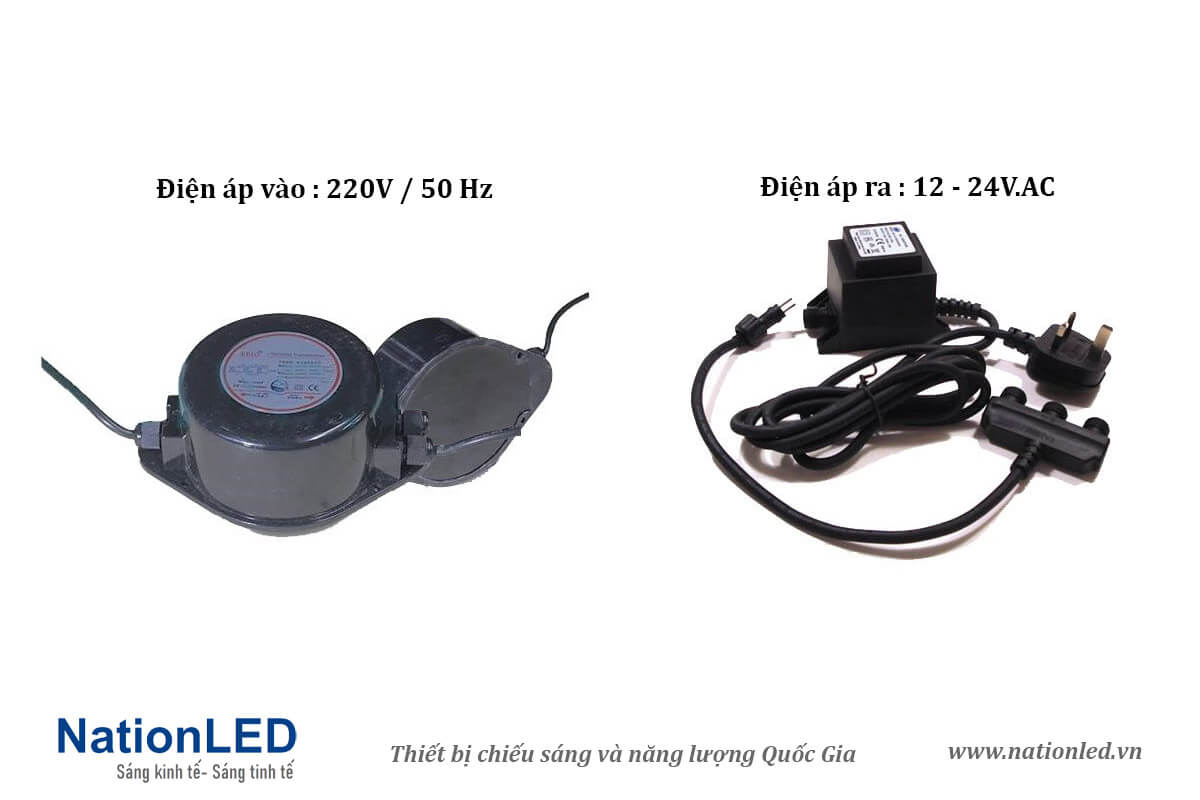 Bộ đổi nguồn 220V - 12/24 V.AC - NationLED