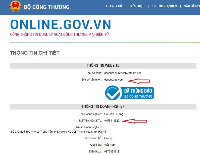 Website đã đăng kí bộ công thương