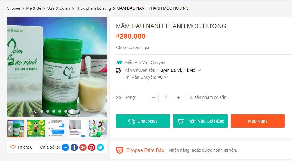 Giá mầm đậu nành Thanh Mộc Hương trên shopee