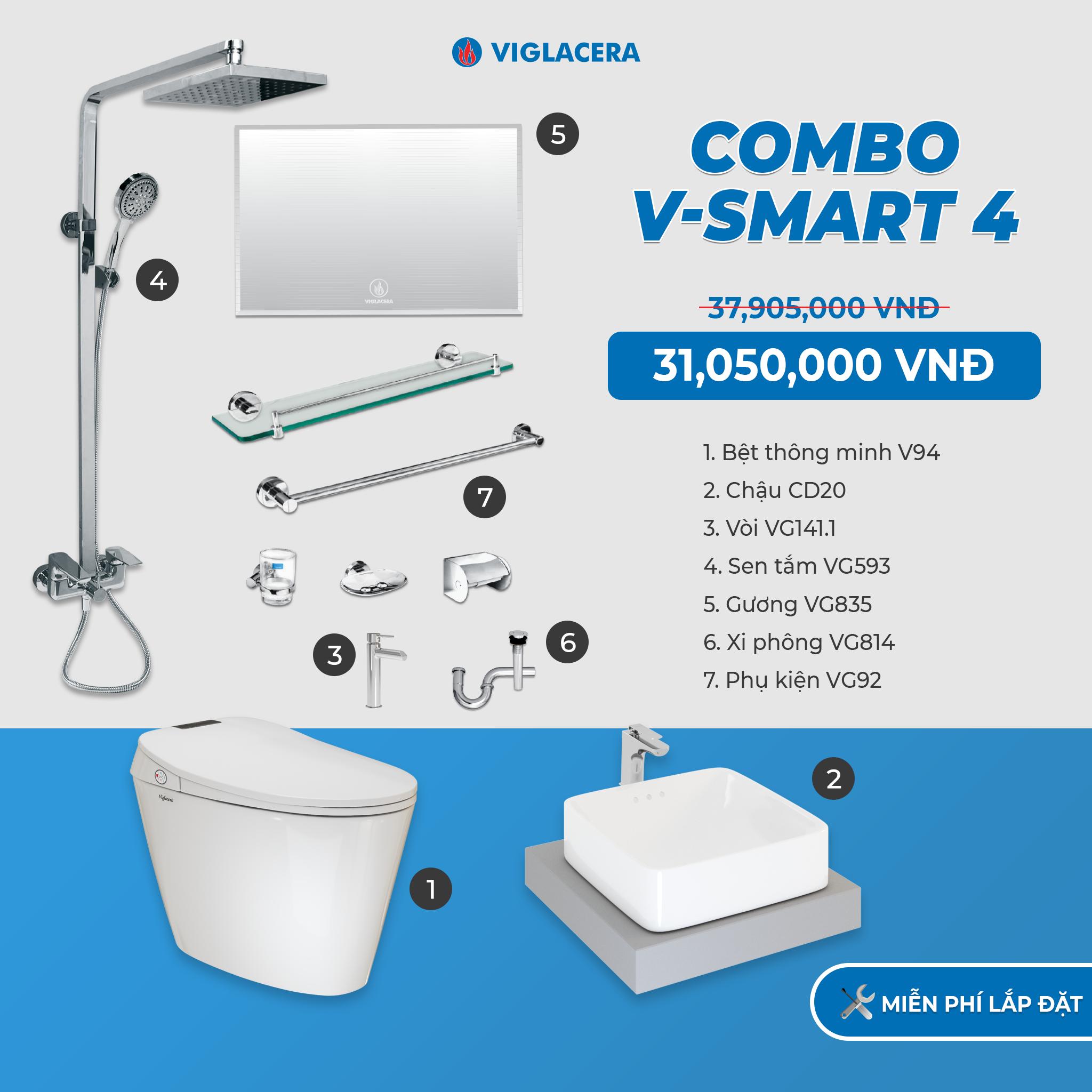 Combo nhà tắm thông minh V-smart 4