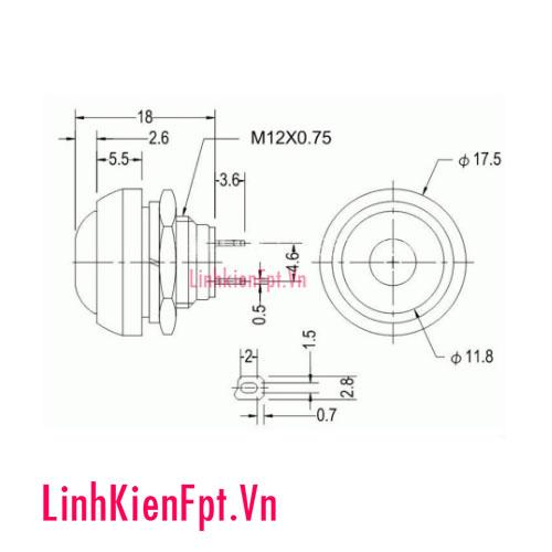 Nút Nhấn Nhả PBS-33B Đỏ 12mm