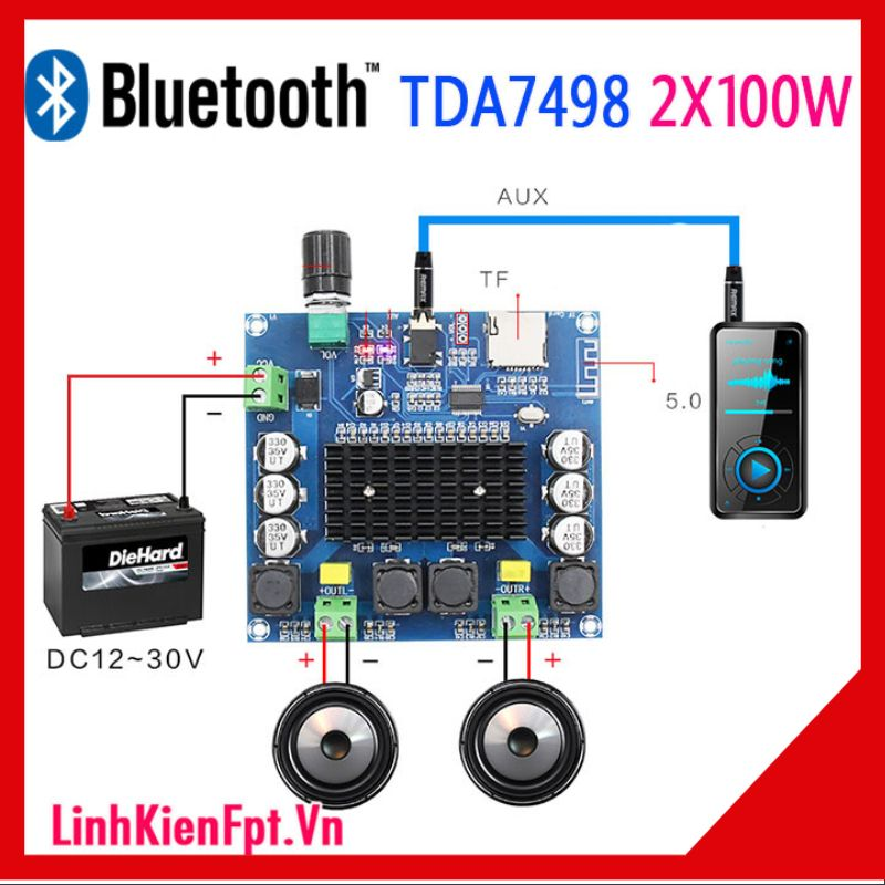 Mạch khuếch đại âm thanh Bluetooth TDA7498 100W 2 kênh
