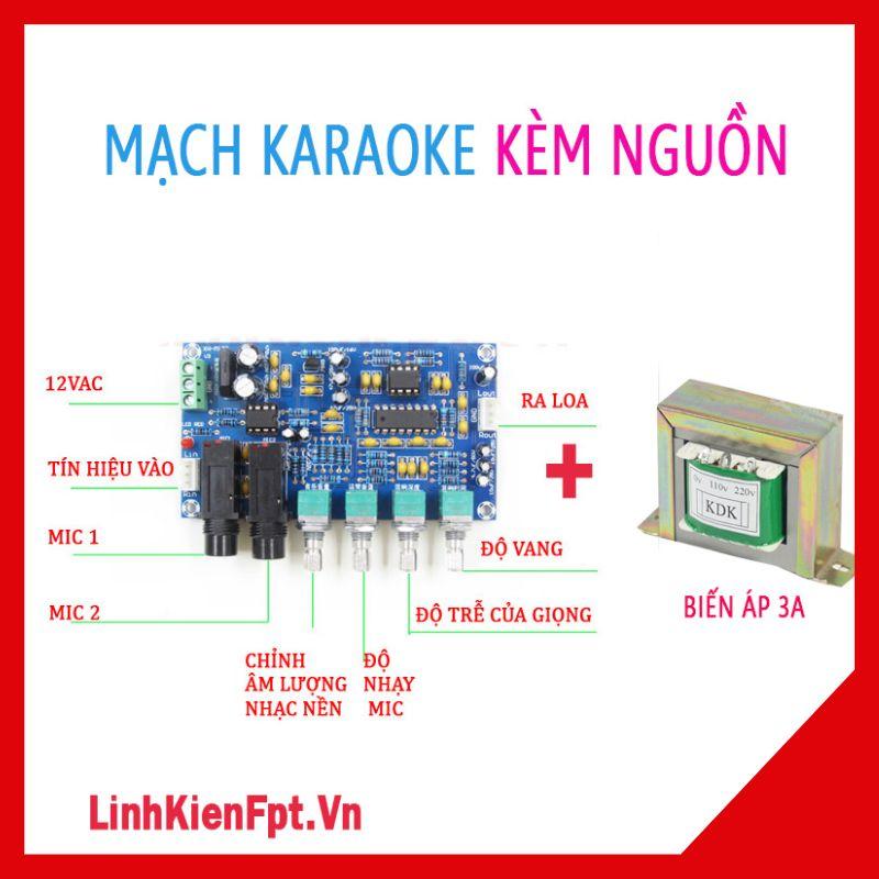 Mạch karaoke MH-713 Kèm nguồn biến áp đôi 12VAC