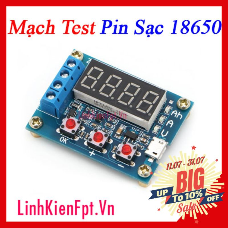 Mạch Test Pin 18650 1.2-12V