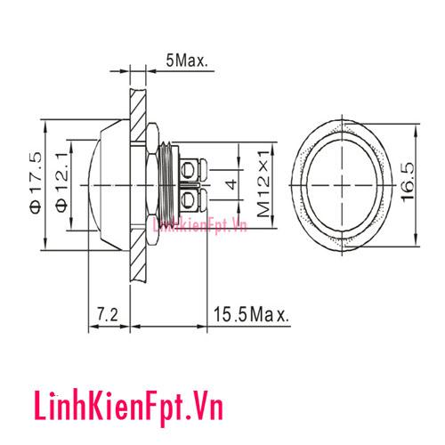 Nút nhấn nhả 12V 12MM đầu tròn (chống nước)