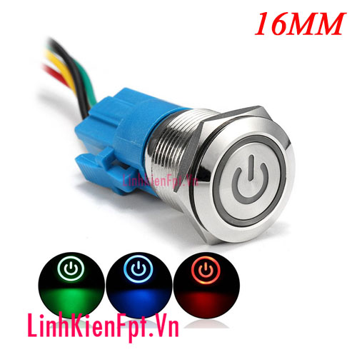 Nút nhấn giữ kim loại chống nước 16MM 12V (Màu đỏ)