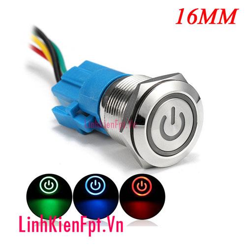 Nút nhấn giữ kim loại chống nước 16MM  12V ( Xanh Lá )