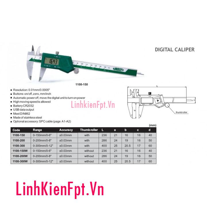 Thước cặp điện tử đo: 0-150mm Insize Sịn