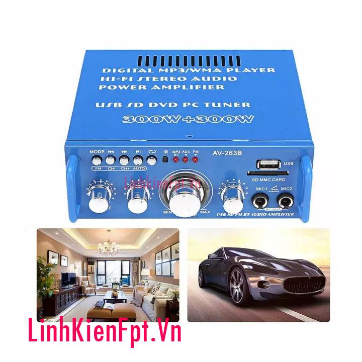 Âm Ly Karaoke Bluetooth 300W AV-263B Amly Xe Hơi