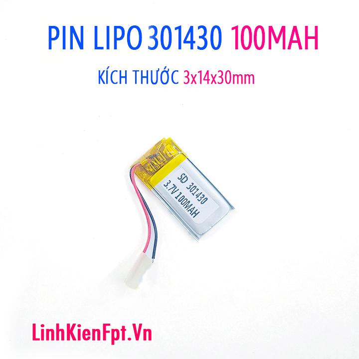 Pin Lipo 301430-100MAH Pin tai nghe