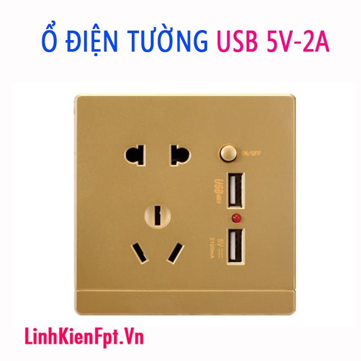 Ổ điện âm tường USB 5V 2A điện áp 220V - Kèm Đế