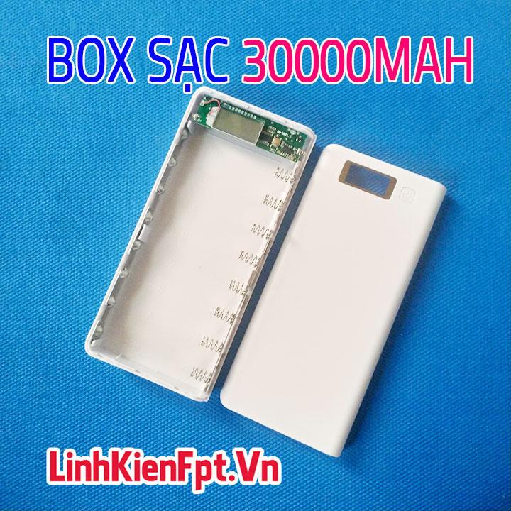 Box Sạc Dự Phòng LCD 8Cell 30000mAh Trắng