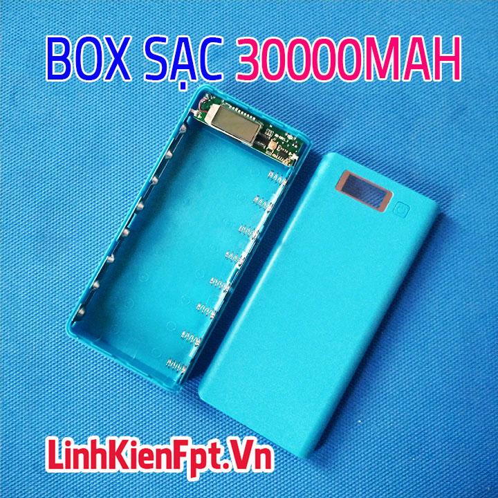Box Sạc Dự Phòng LCD 8Cell 30000mAh Xanh