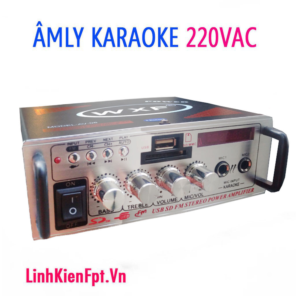 Âm Ly mini karaoke Bluetooth Amly Xe Hơi 2  AV-08BT