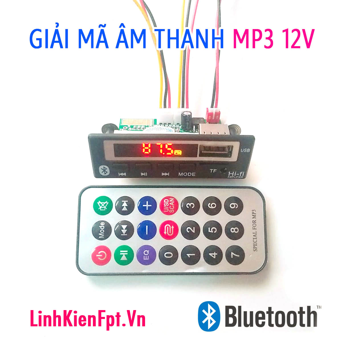 Mạch Giải Mã  Bluetooth Hồng Ngoại 12V LCD