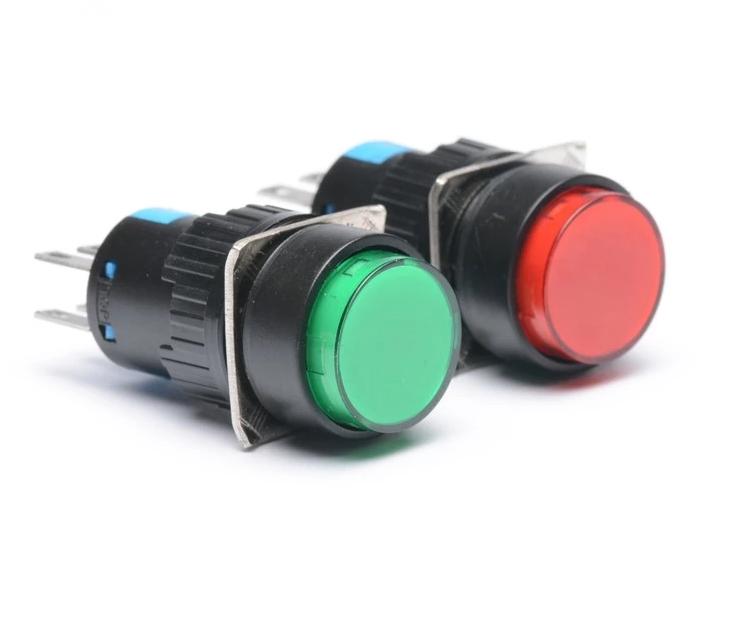 Nút nhấn nhả K16Y-DSA1 6 chân 2 cặp tiếp điểm màu đỏ / Nút nhấn 6 chân LA16Y-22 phi 16mm K16Y-DSA1 - i3H5