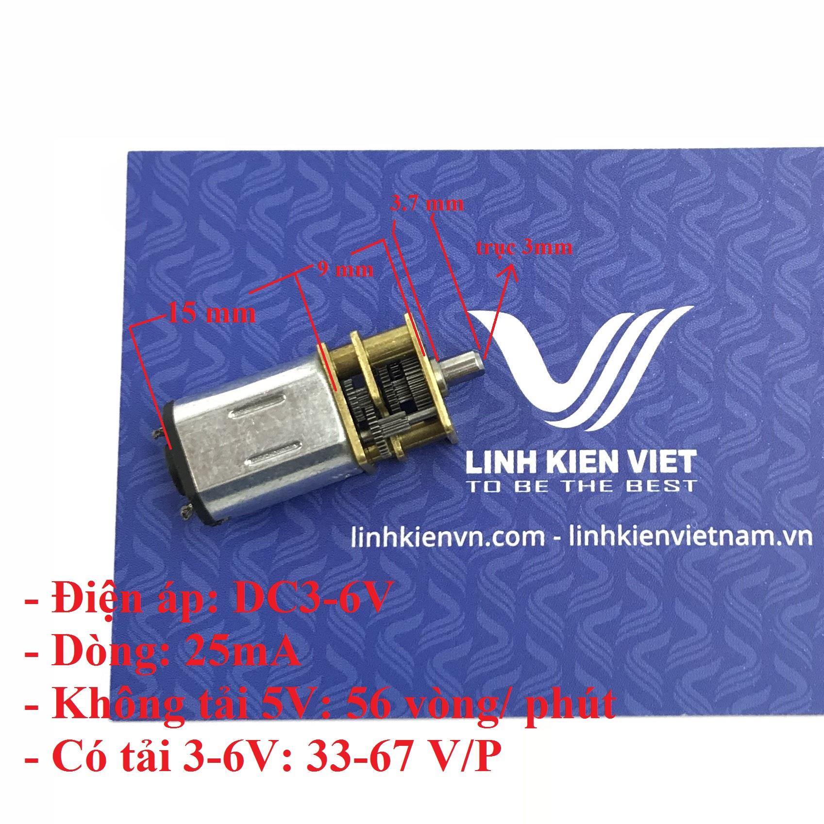 Động cơ giảm tốc N20 1.5-6V 56 vòng/phút - I3H15