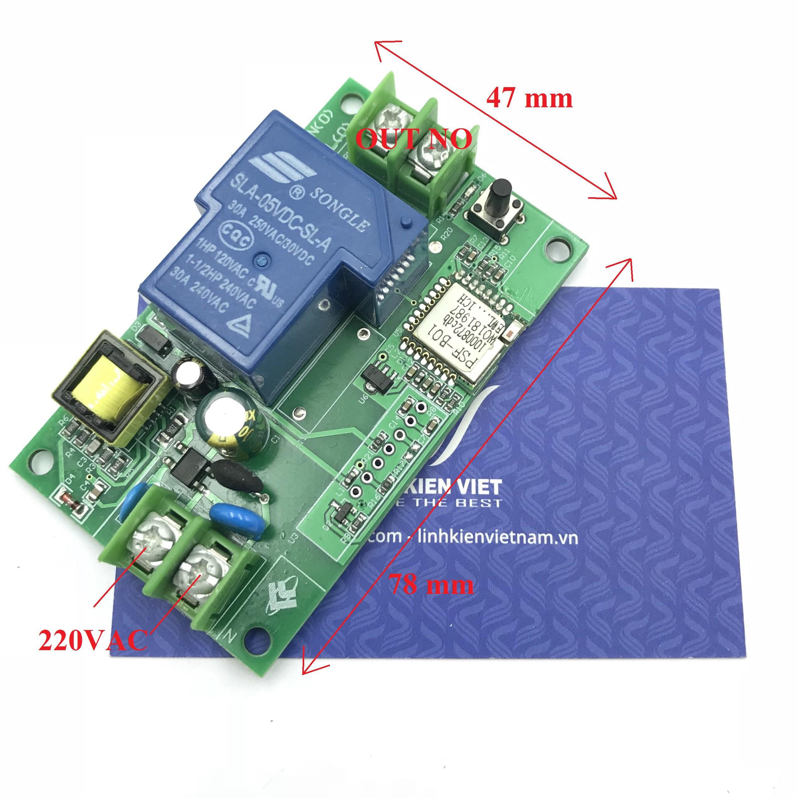 Module relay Wifi 1 kênh 30A - 220V phần mềm EWELINK - K2H22