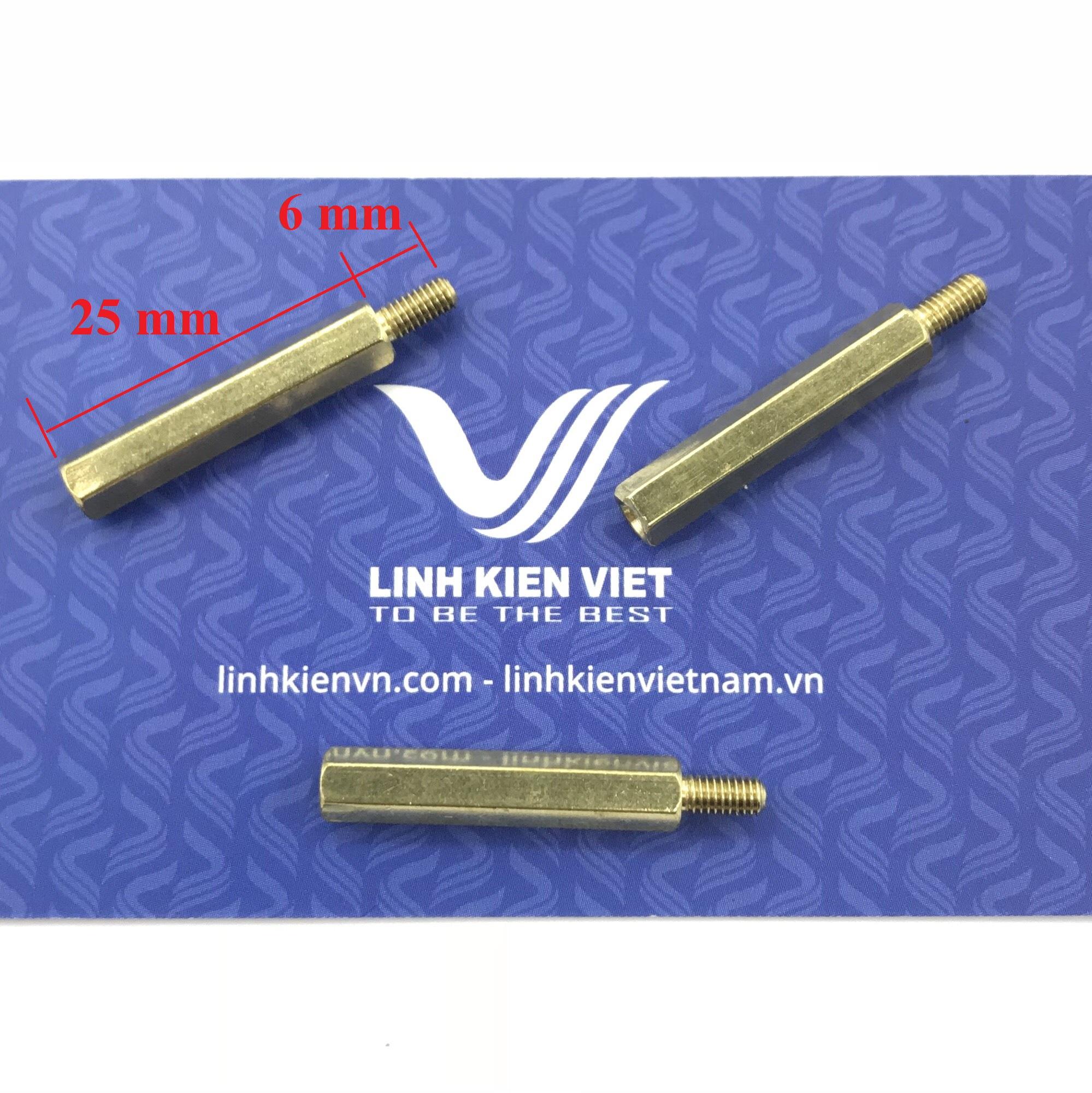 Cọc đồng M3 25+6mm đực-cái - J1H22