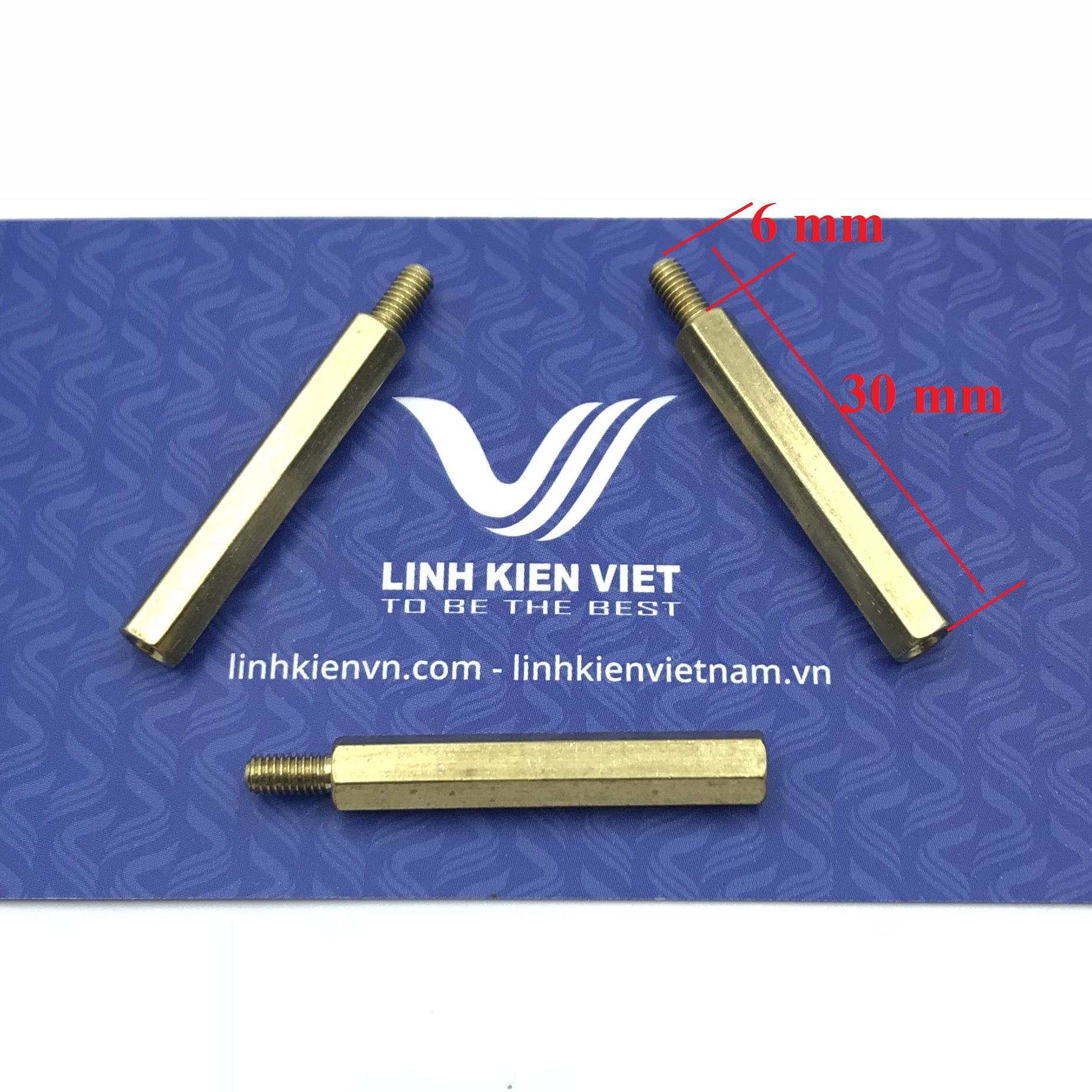 Cọc đồng M3 30+6mm đực-cái - J1H23