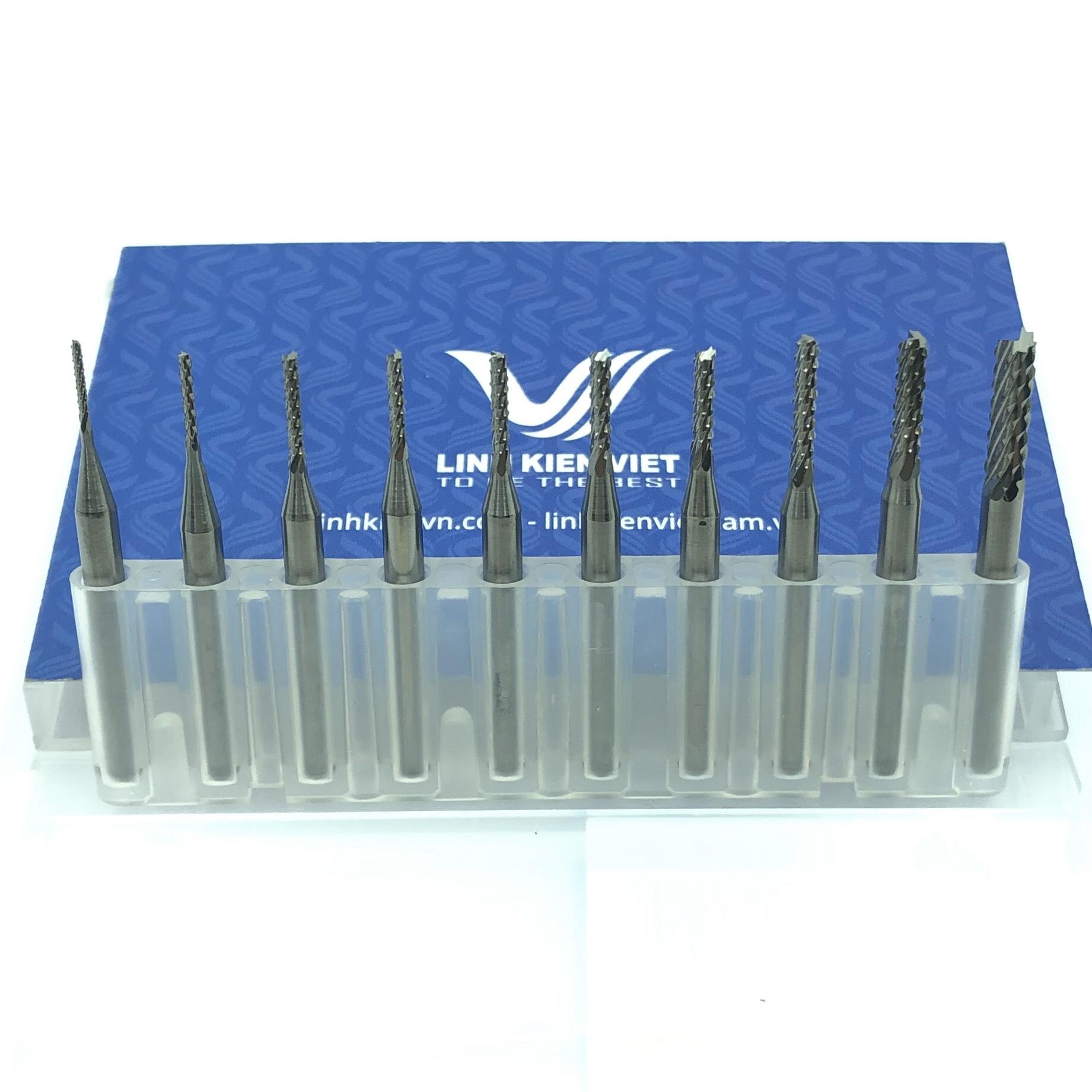Combo 10 mũi phay CNC vonfram từ 0.8-3.175mm / S2H21