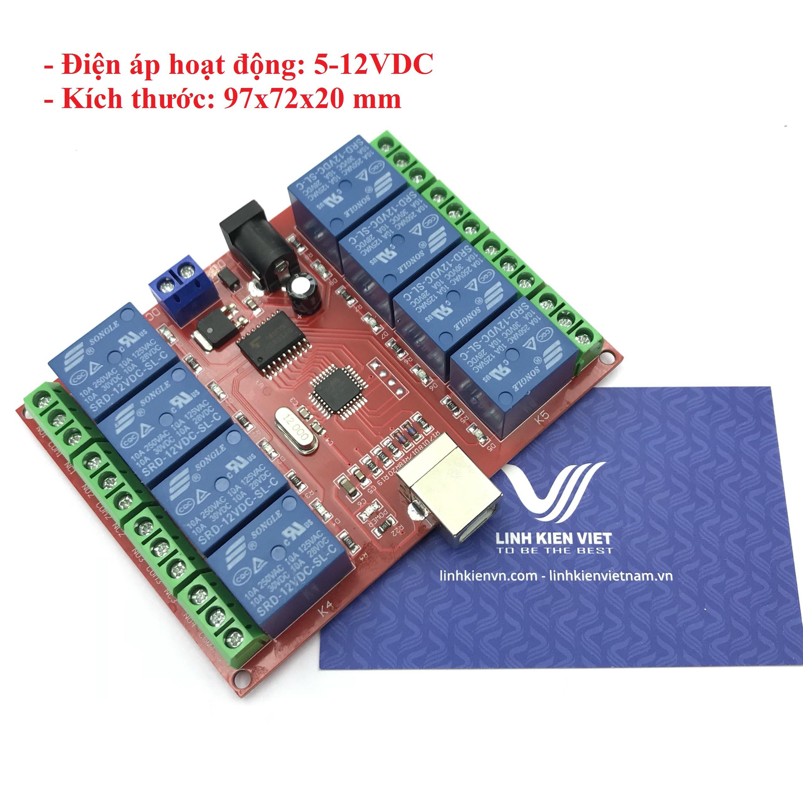 Module Relay 8 kênh 12V Bật Tắt Qua Cổng USB - I2H8