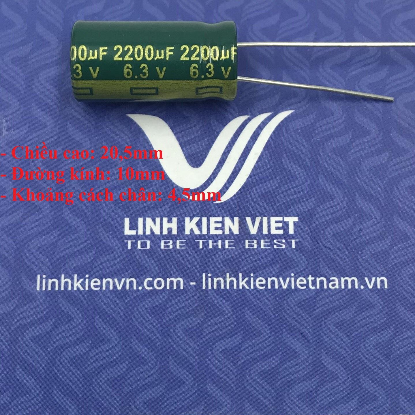 Tụ hóa 2200uF - 6.3V / J5H20