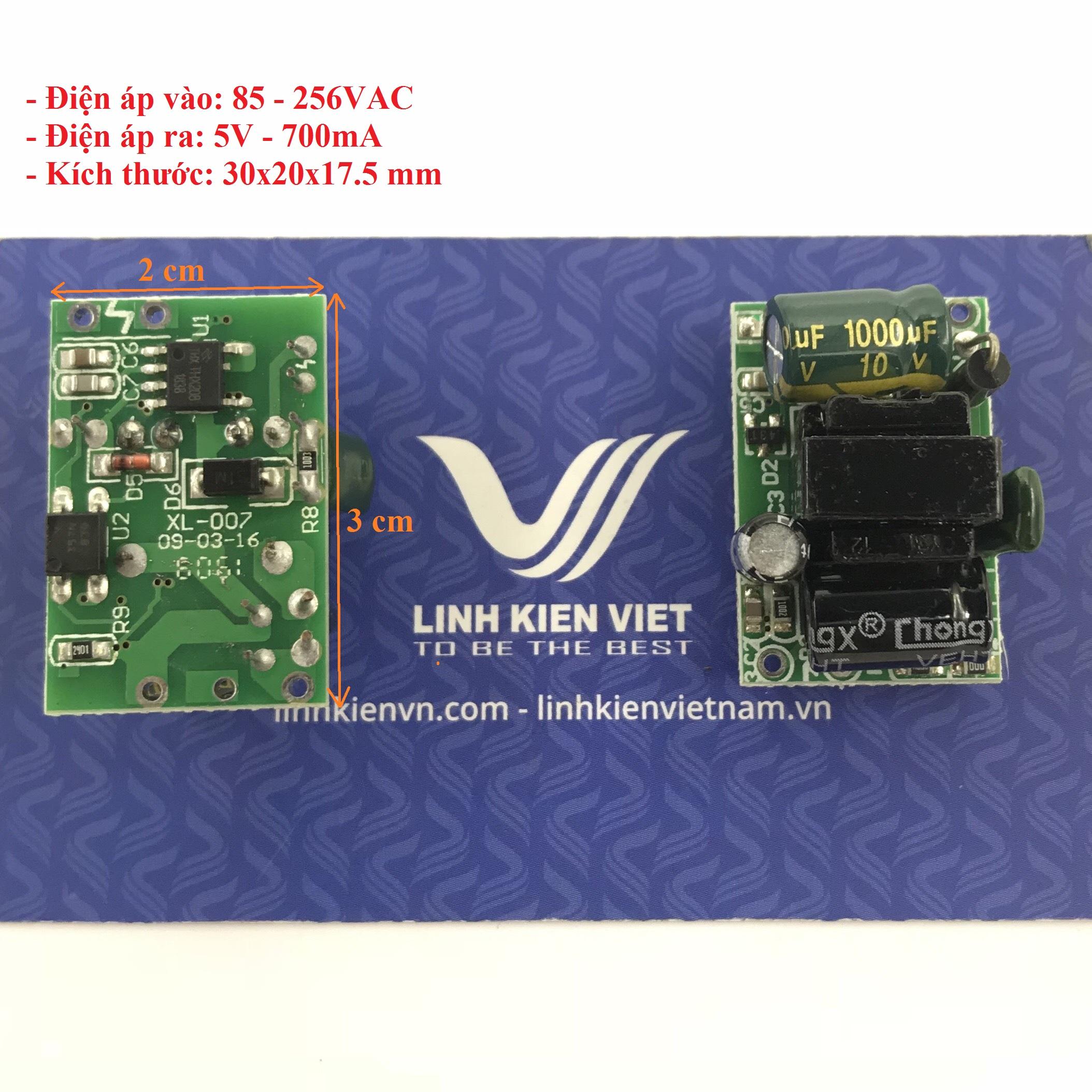 Nguồn adapter không vỏ AC-DC Mini 5V 700mA 30x20x17.5mm - J5H10