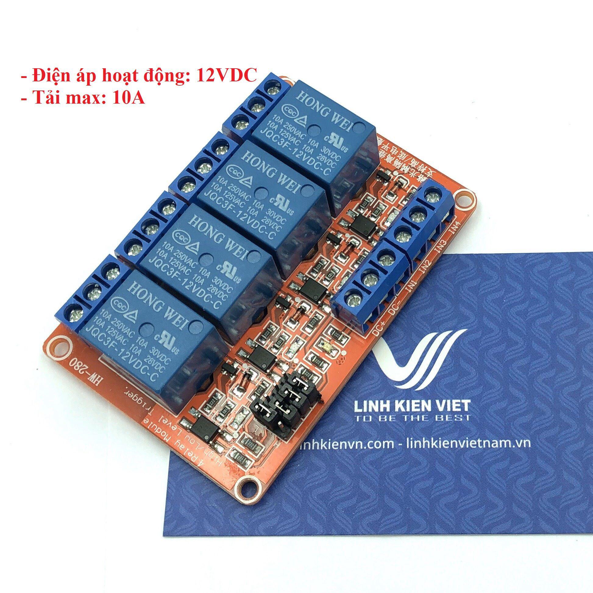 Module relay 4 kênh 12VDC / 10A chọn mức kích hoạt - i6H23