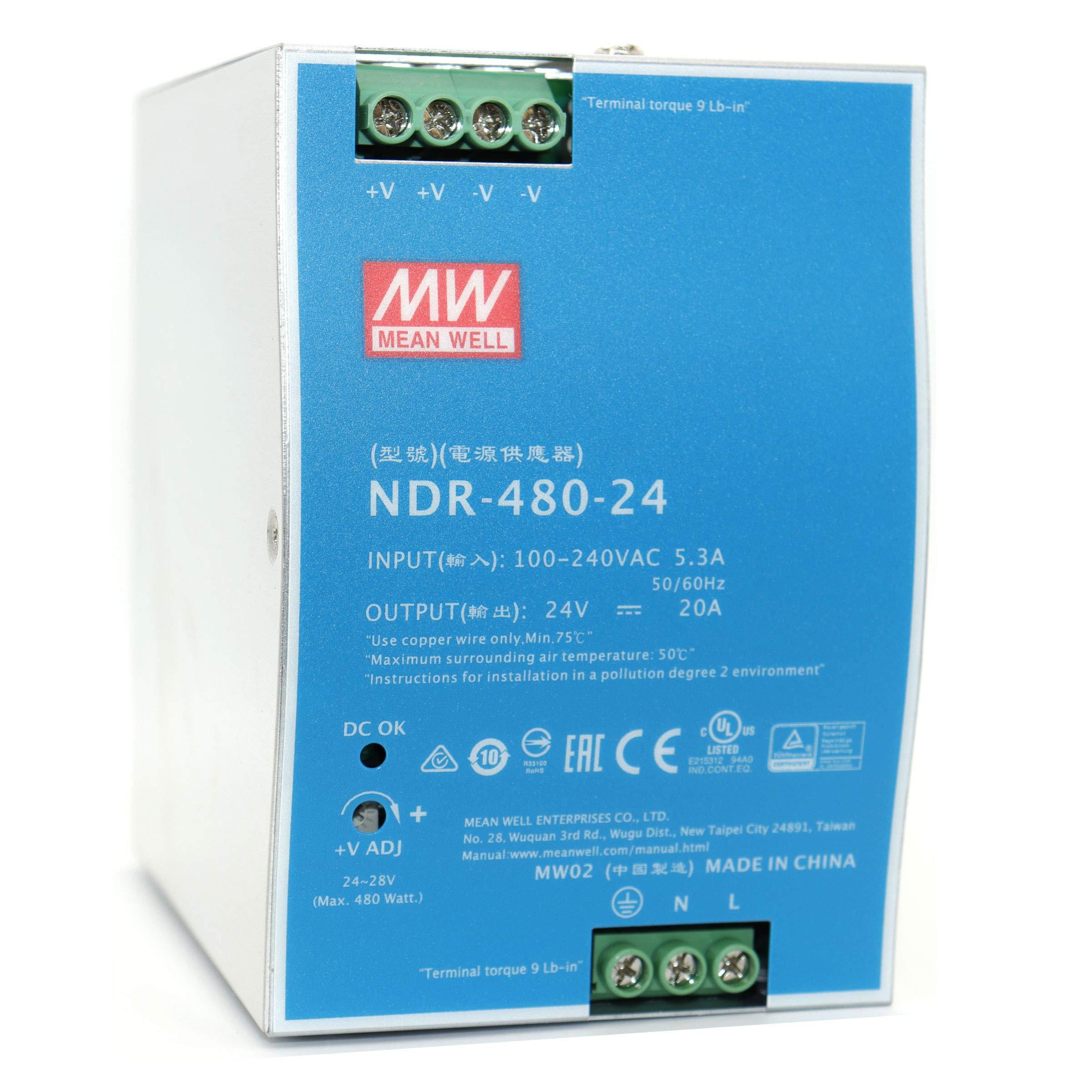 Nguồn tổ ong MEANWELL 24V 20A / NDR-480-24 có chống nhiễu lắp cho tủ điện