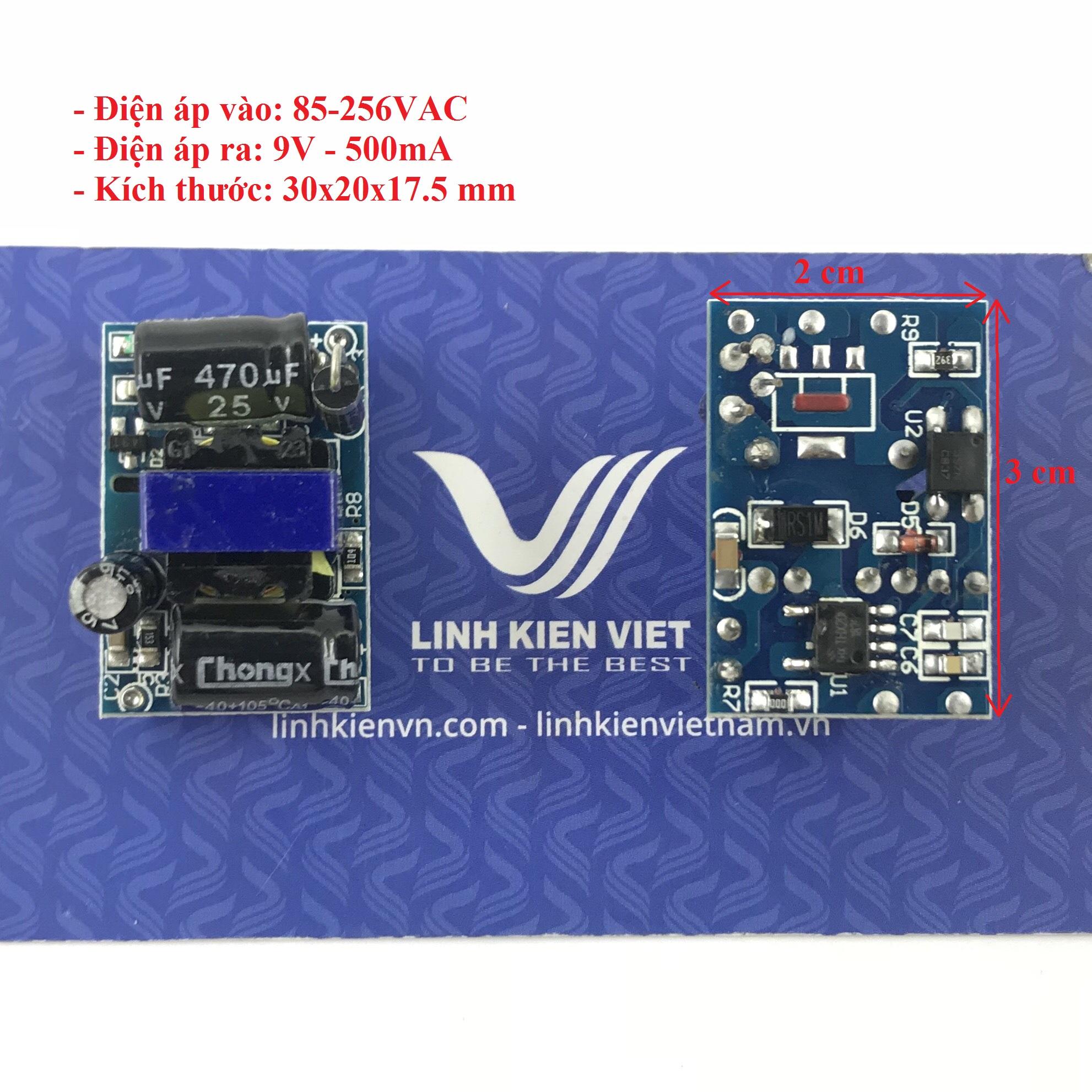 Nguồn adapter không vỏ AC-DC Mini 9V 500mA 30x20x17.5mm - J5H9