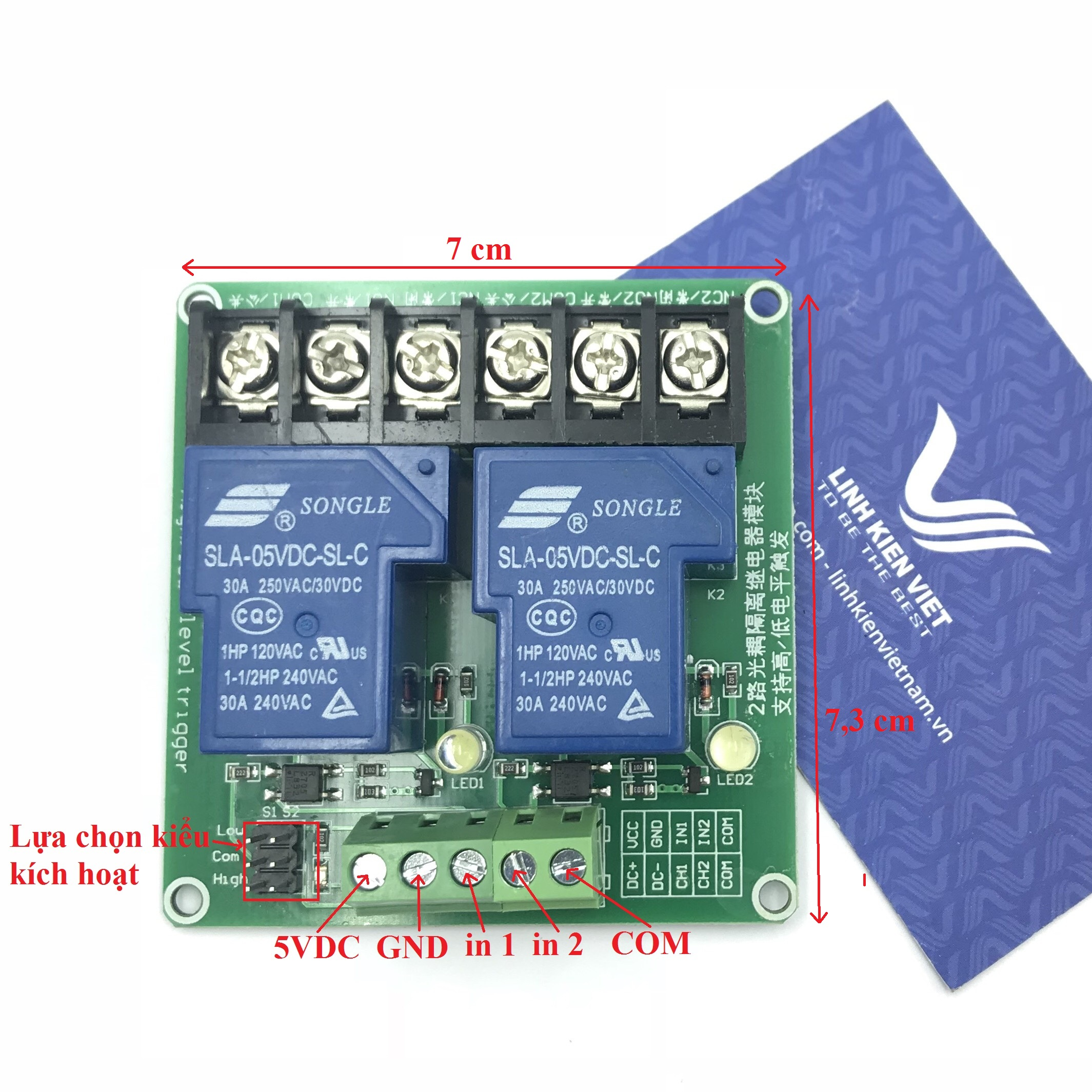 Module relay 2 kênh 5V 30A chọn kiểu kích hoạt - i5H21