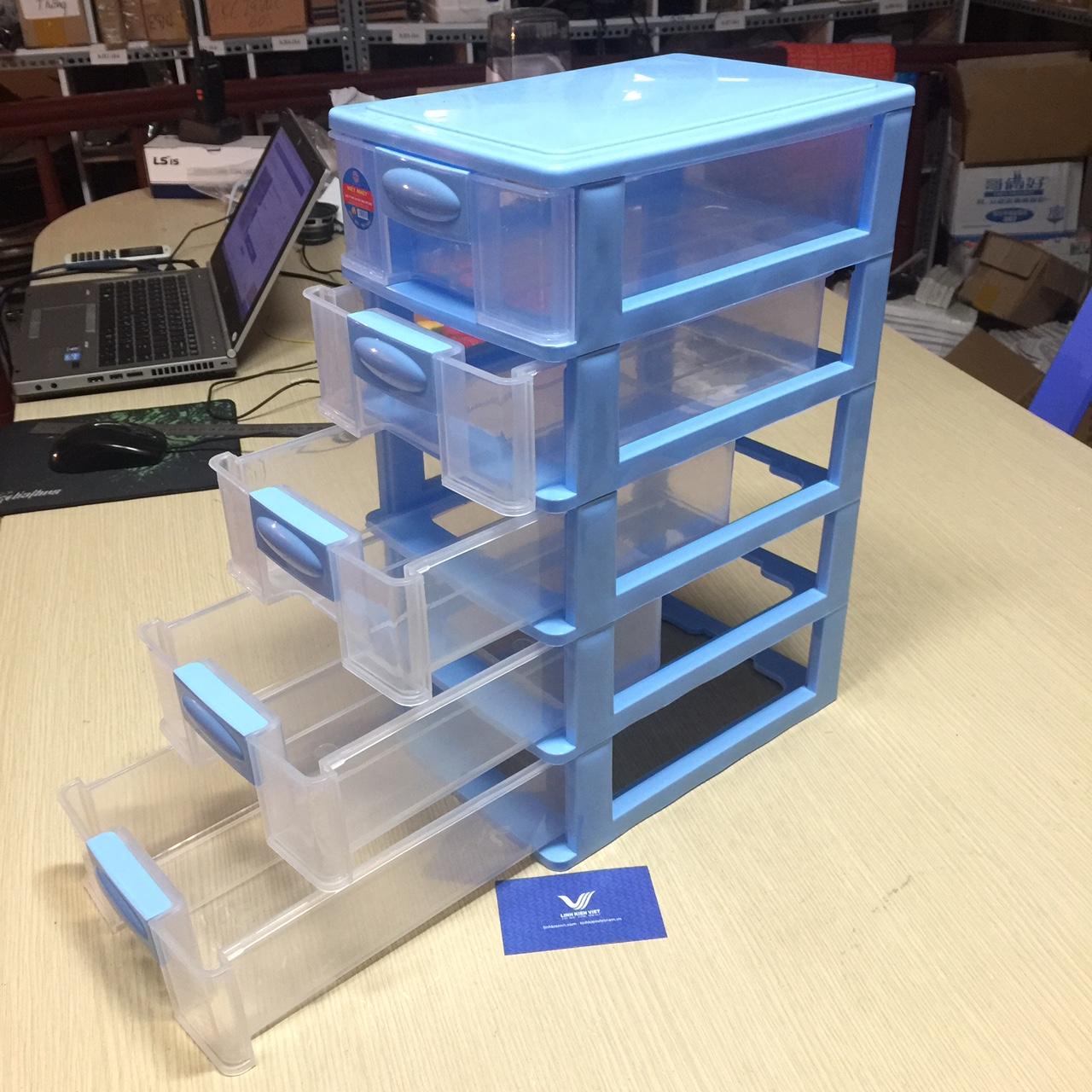 Tủ nhựa mini 5 tầng Việt Nhật 26*18*41cm / Hộp nhựa 5 tầng
