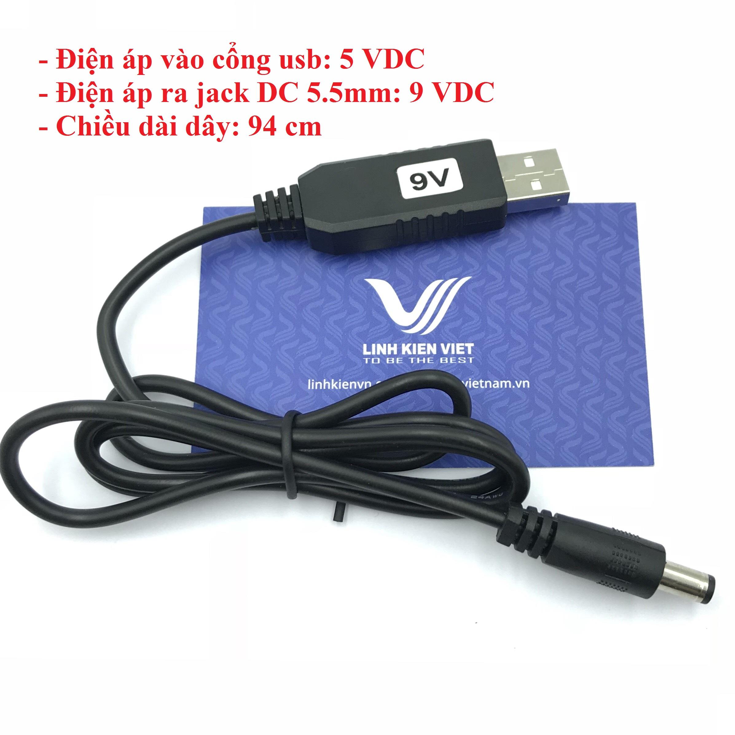 Dây nguồn USB tăng áp từ 5V lên 9V jack DC tròn 5.5mm - I2H7