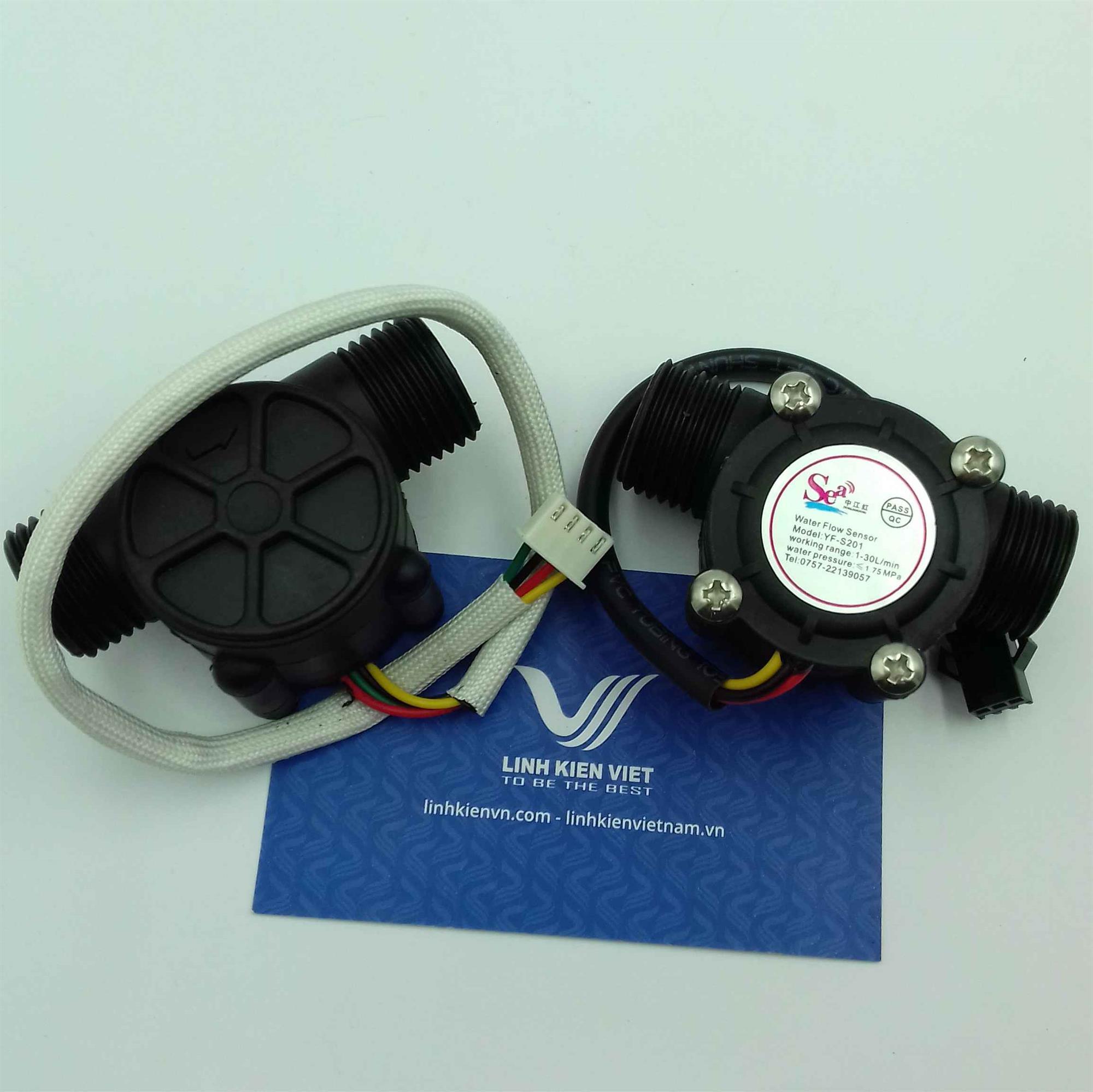 Cảm biến lưu lượng nước YF-S201 có thêm nhiệt độ - i2H13