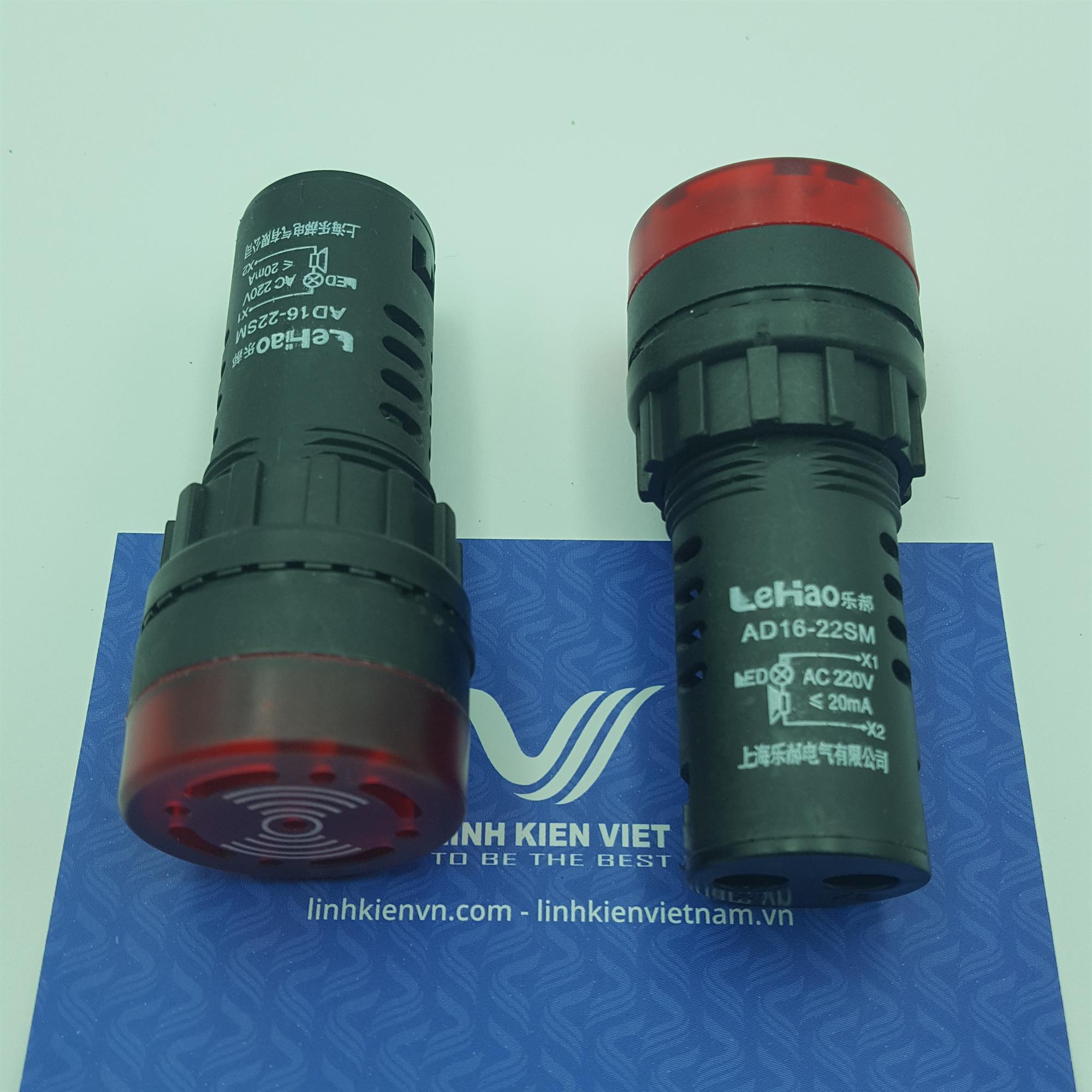 Còi cảnh báo AD16-22SM 220V màu đỏ có đèn - J5H16