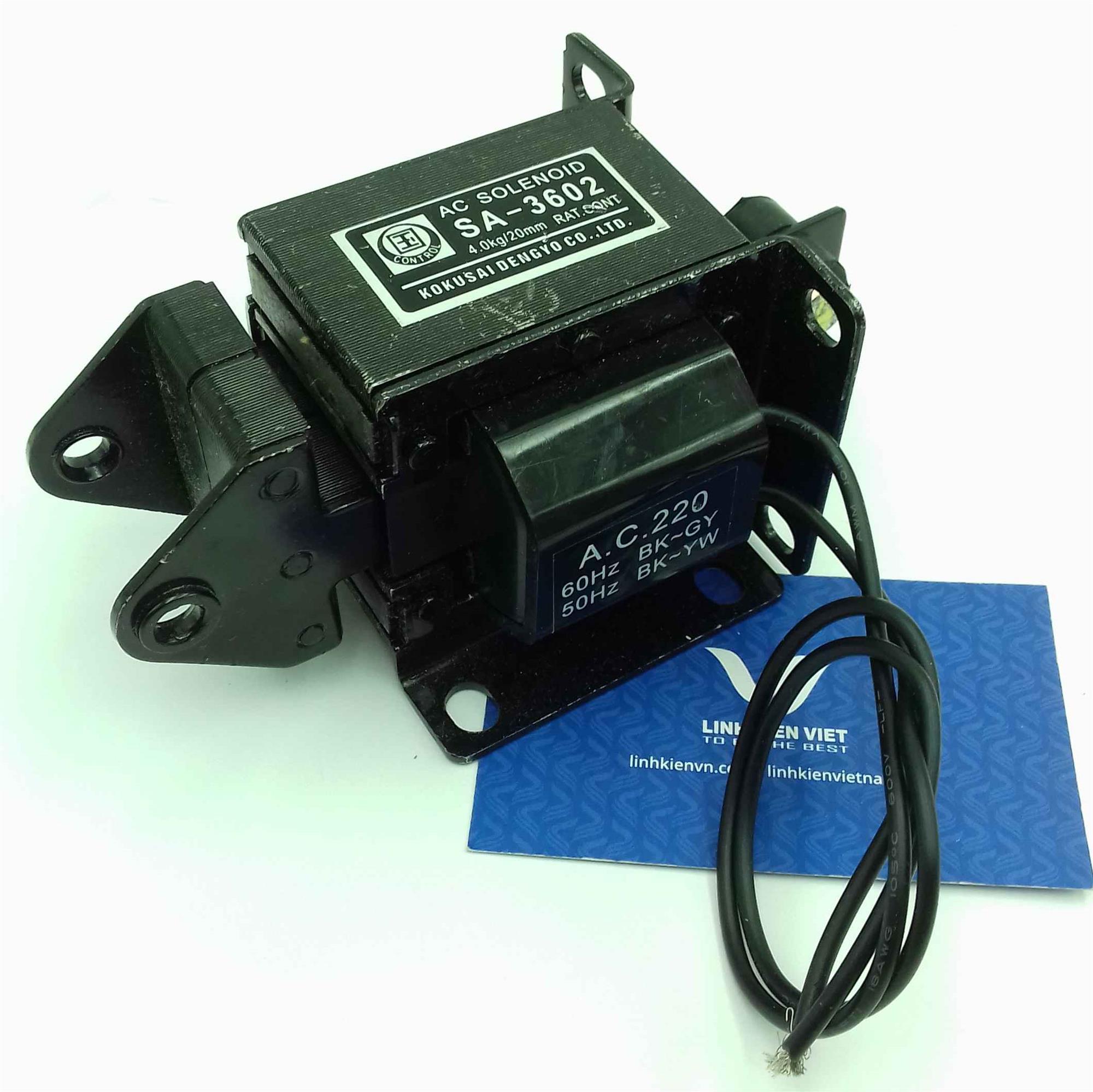 Cuộn hút 220V SA-3602 19.6N kéo 4kg hành trình 20mm -