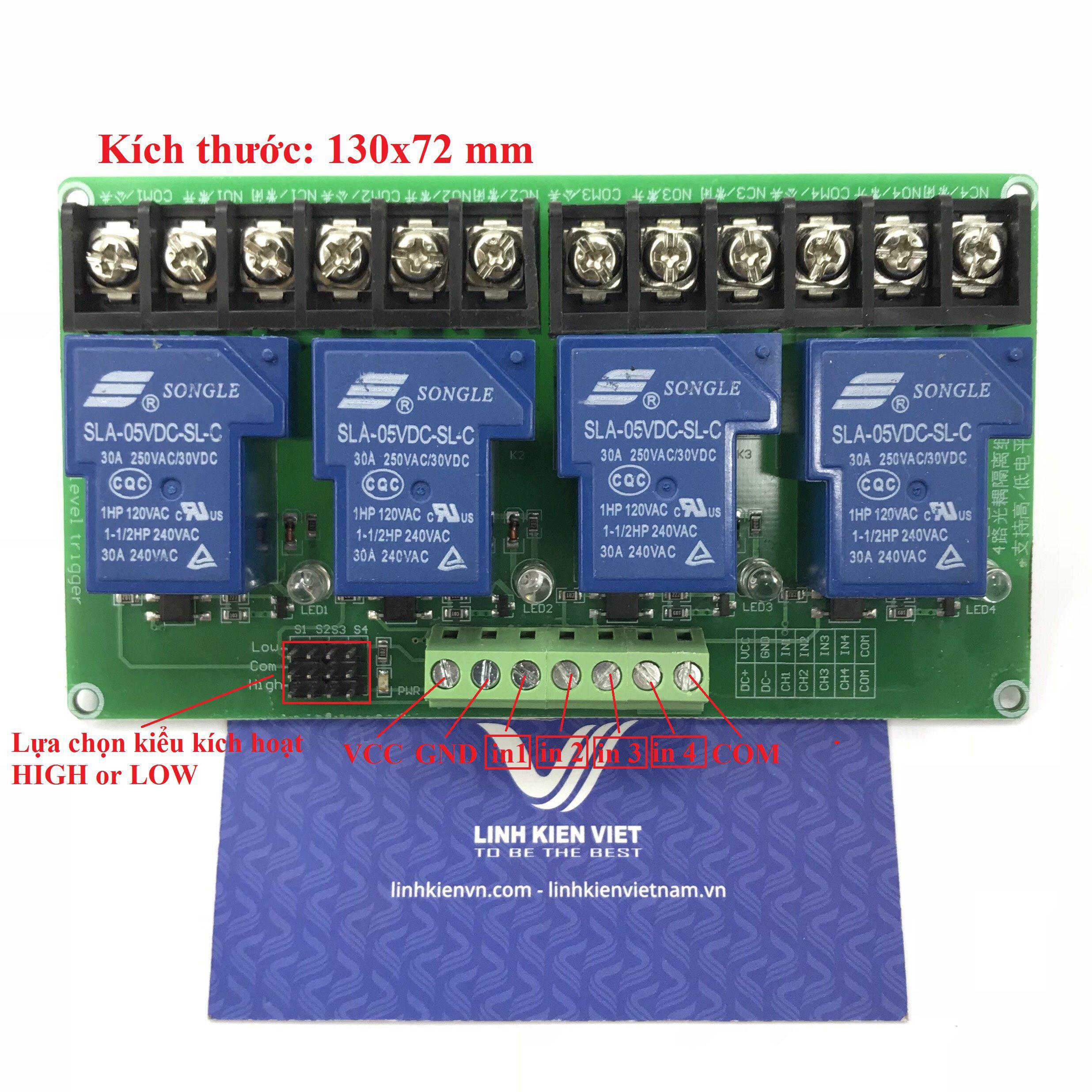 Module relay 4 kênh 5V 30A chọn kiểu kích hoạt - X5H18