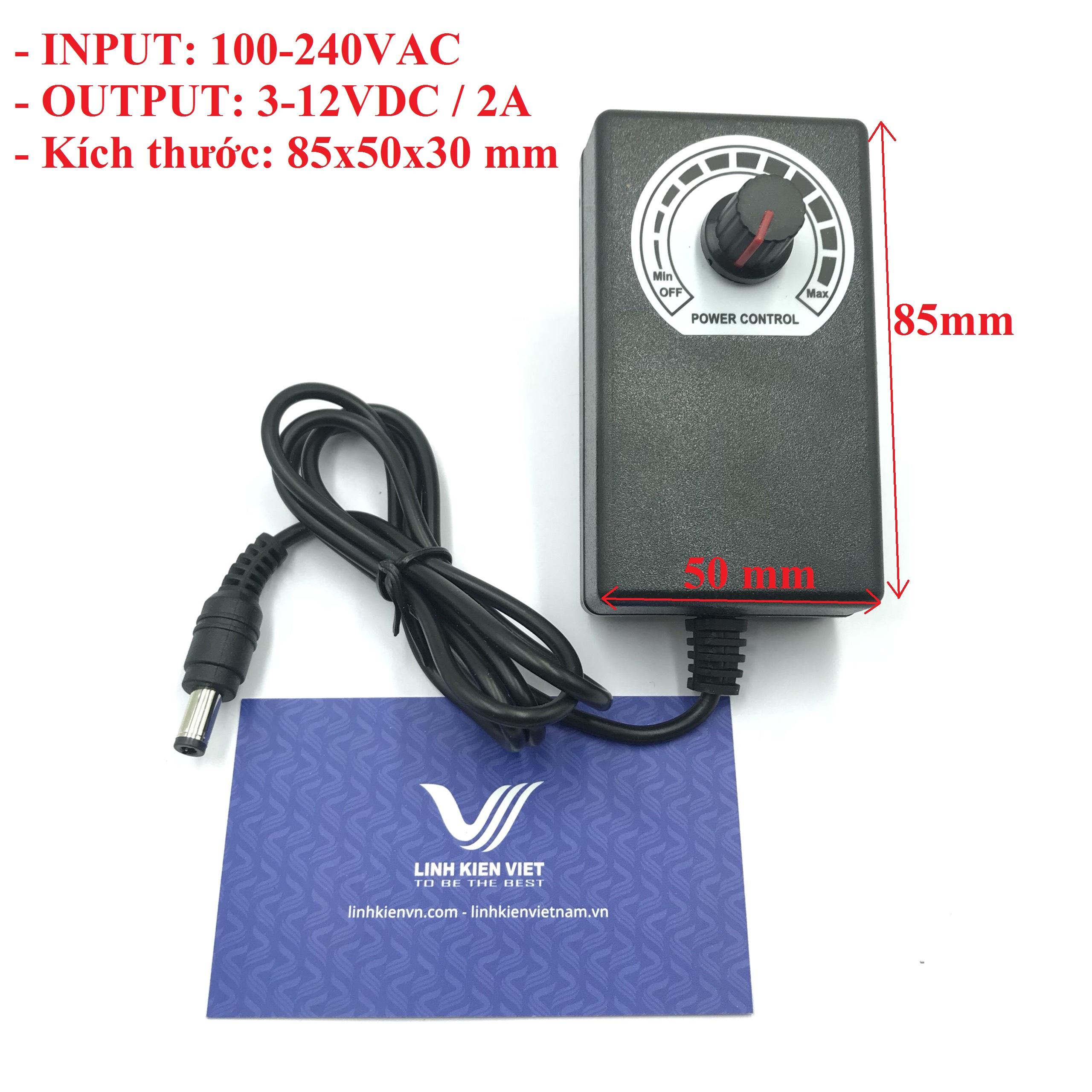 Nguồn adapter điều chỉnh 3-12V / 2A